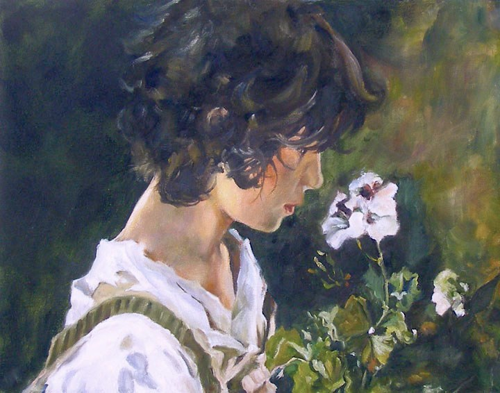 """Italian Girl With Flowers, 11x14 Oil on Canvas, after Sorolla"" original fine art by Carmen Beecher"
