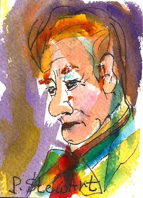 """""""ACEO: Man with a Red Tie, Watercolor and Pen, Loose Style , Portrait"""" original fine art by Penny Lee StewArt"""