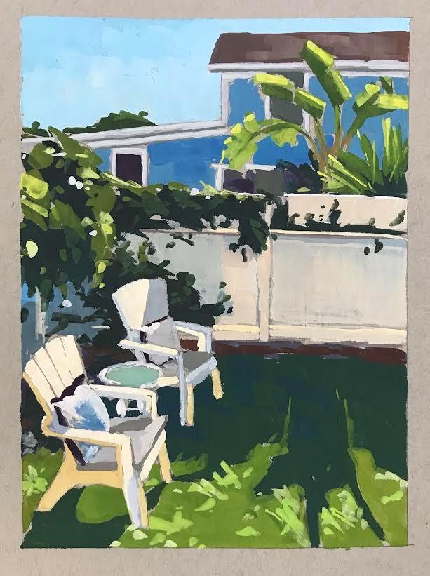 """Backyard Oasis"" original fine art by Sharon Schock"