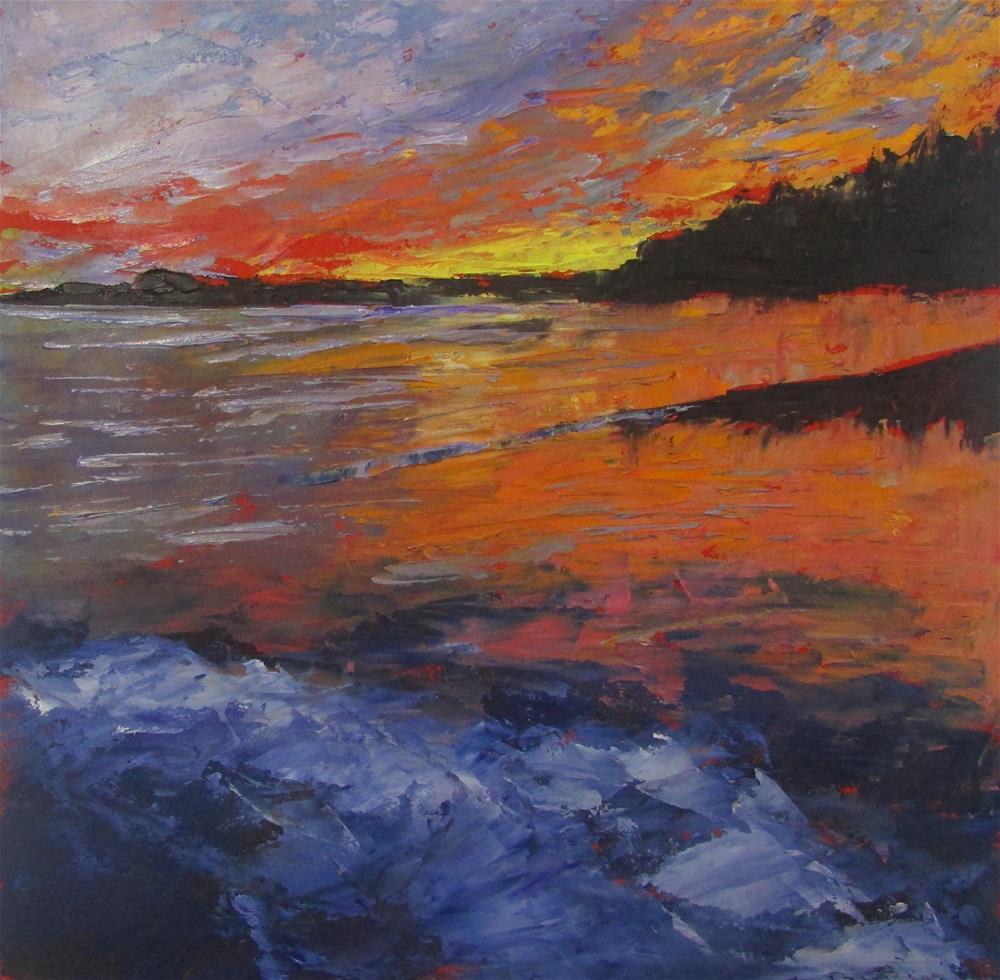 """8 x 8 inch oil Surprise Sunset"" original fine art by Linda Yurgensen"