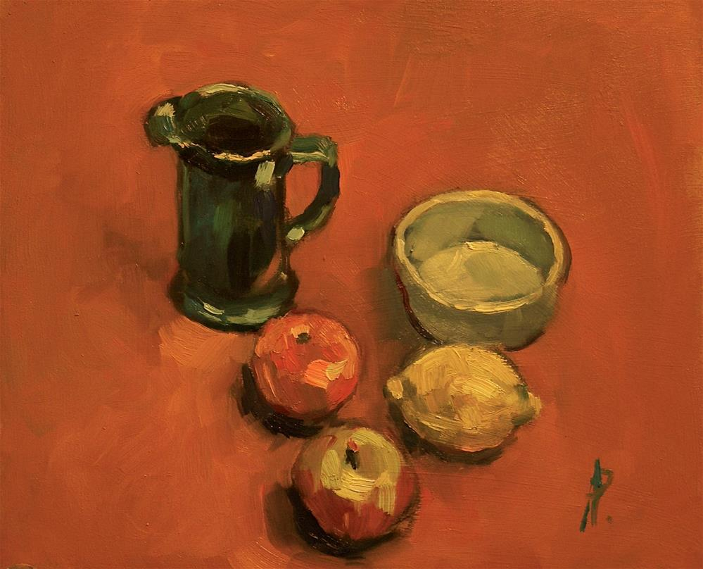 """""""Fruit, Jug and Dish"""" original fine art by Andre Pallat"""
