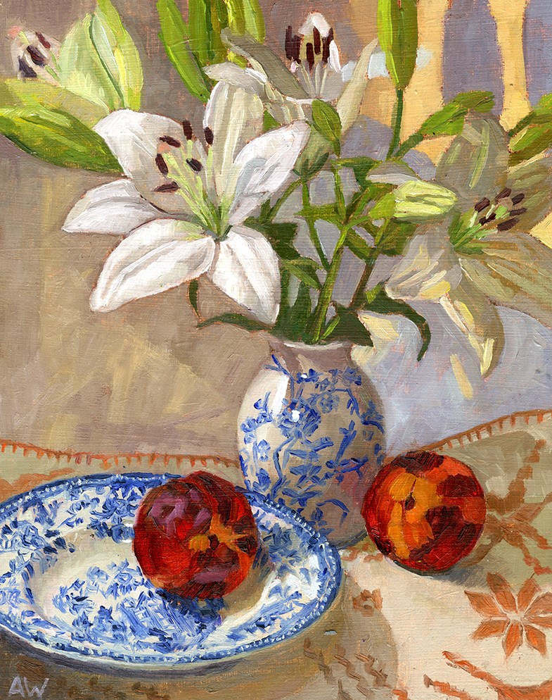 """""""Lilys and Nectarines"""" original fine art by Angie Wood"""