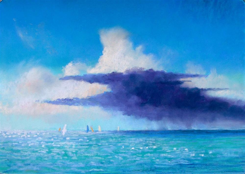 """Rain at Sea"" original fine art by Christine Derrick"