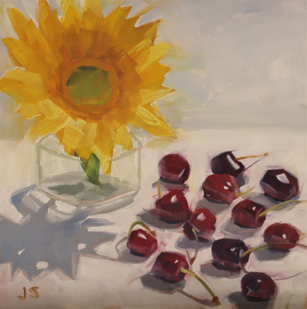 """Sunflower and Cherries"" original fine art by Jamie Stevens"