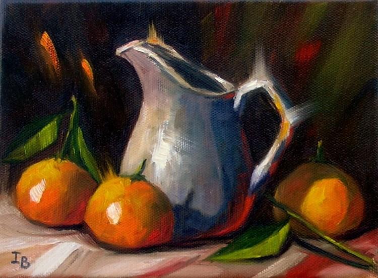 """""""Three tangerines - 2"""" original fine art by Irina Beskina"""