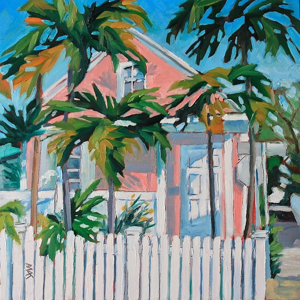 """""""Key West Pink House"""" original fine art by Mary Anne Cary"""