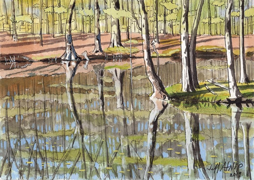 """Hidden Pond"" original fine art by Jeff Atnip"