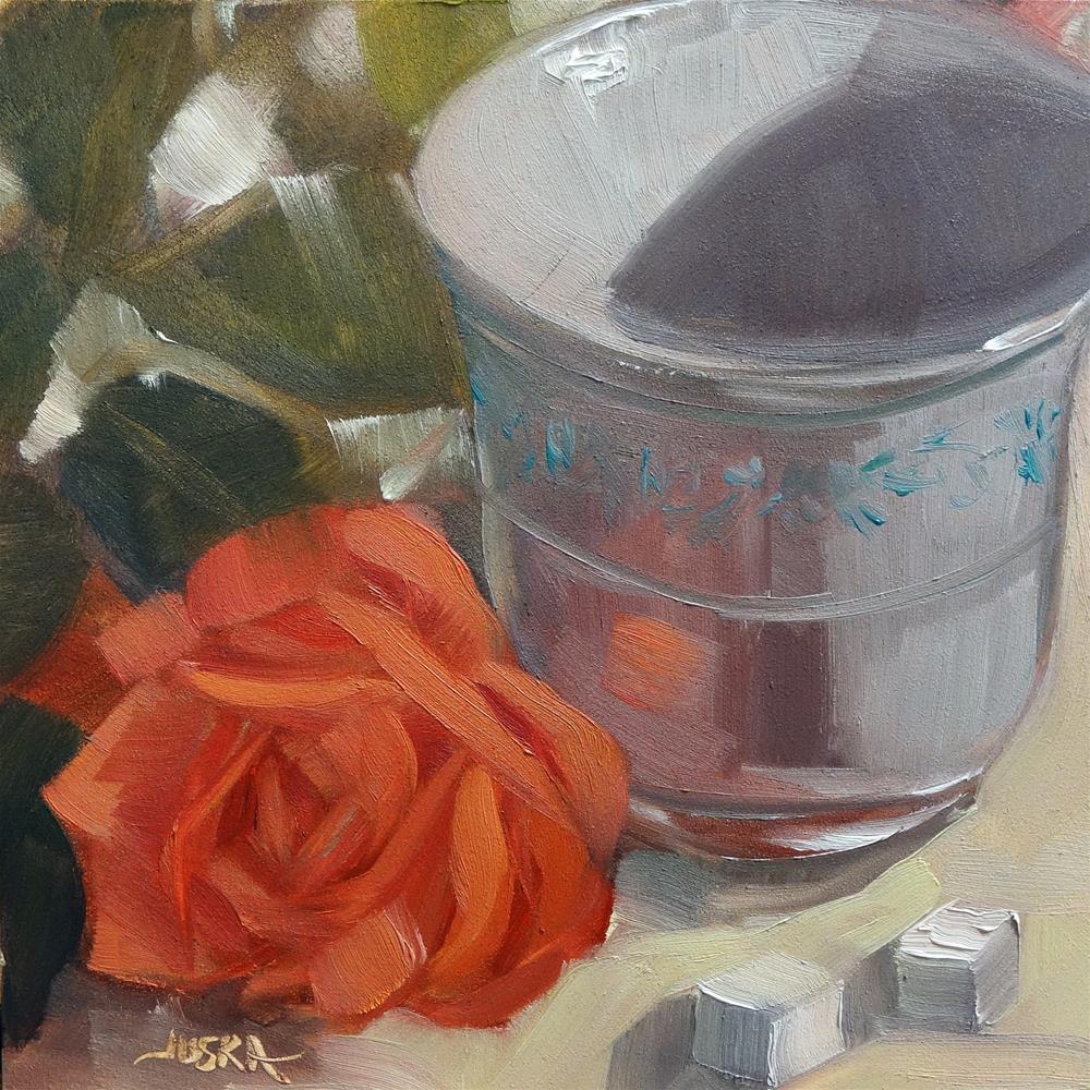 """""""Rose and Porcelain"""" original fine art by Elaine Juska Joseph"""