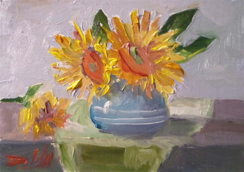 """untitledSunflowers in a Vase"" original fine art by Delilah Smith"