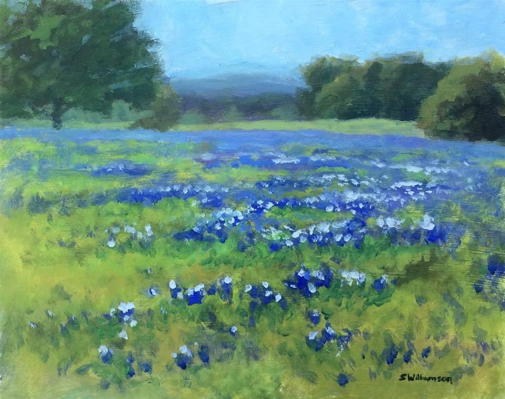 """Bluebonnets in Turkey Bend Rec Area (On-location Study)"" original fine art by Stephen Williamson"