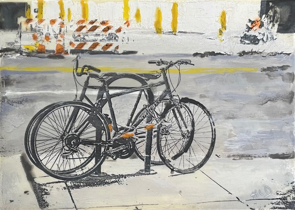 """City Bikes"" original fine art by Heather Douglas"