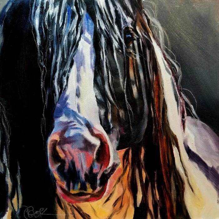 """Pink Nose"" original fine art by Crystal Cook"