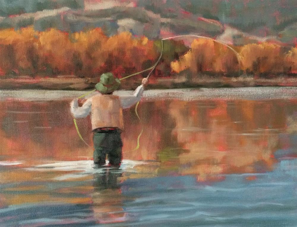 """Mending the Line"" original fine art by Deborah Newman"