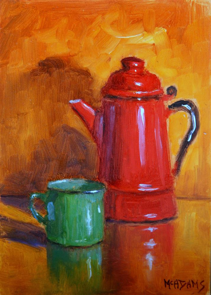 """""""Old tin cup and coffee pot."""" original fine art by Phyllis McAdams"""