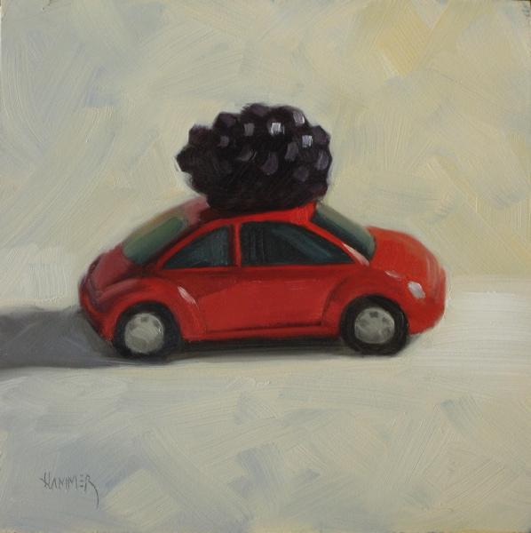 """A Berry Light Load  6x6 oil"" original fine art by Claudia Hammer"