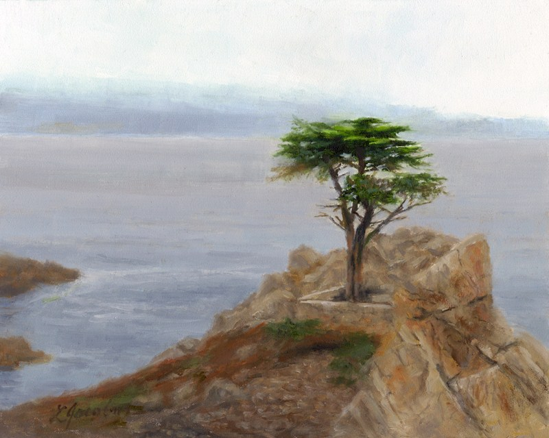 """Cypress at Carmel by the Sea"" original fine art by Linda Jacobus"
