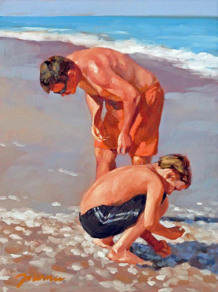 """""""The Supporter--Series Painting of Father and Child on the Beach"""" original fine art by Joanna Bingham"""