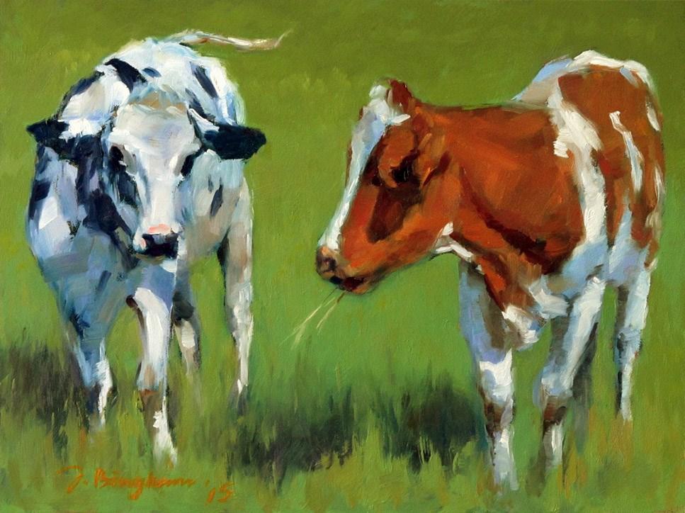 """""""Outdoor Girls--DPW The Cow Challenge"""" original fine art by Joanna Bingham"""
