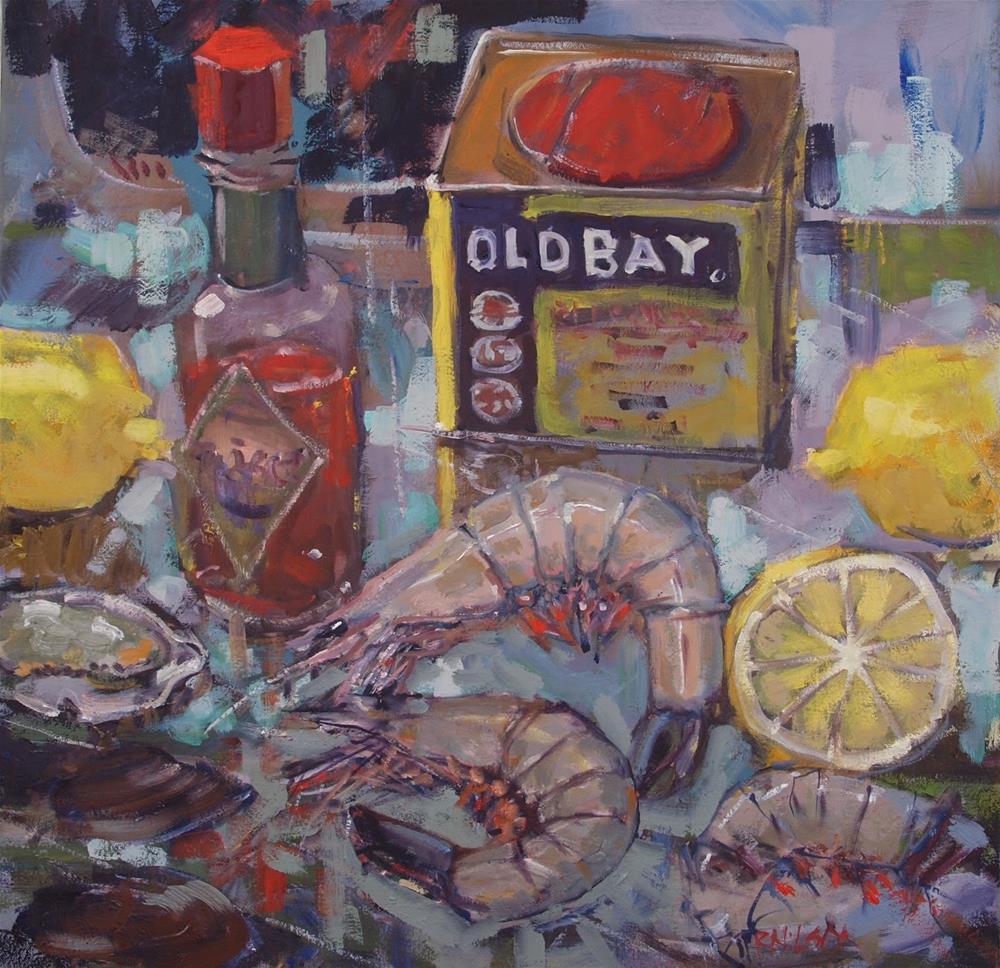 """Cold Plate with Shrimp"" original fine art by Rick Nilson"