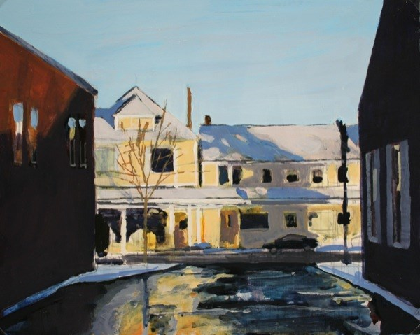 """Main Street Williamsville, Winter"" original fine art by Chris Breier"