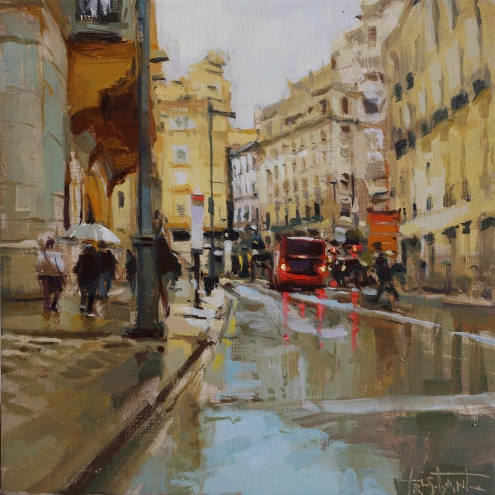 """Puerta real under the rain"" original fine art by Víctor Tristante"