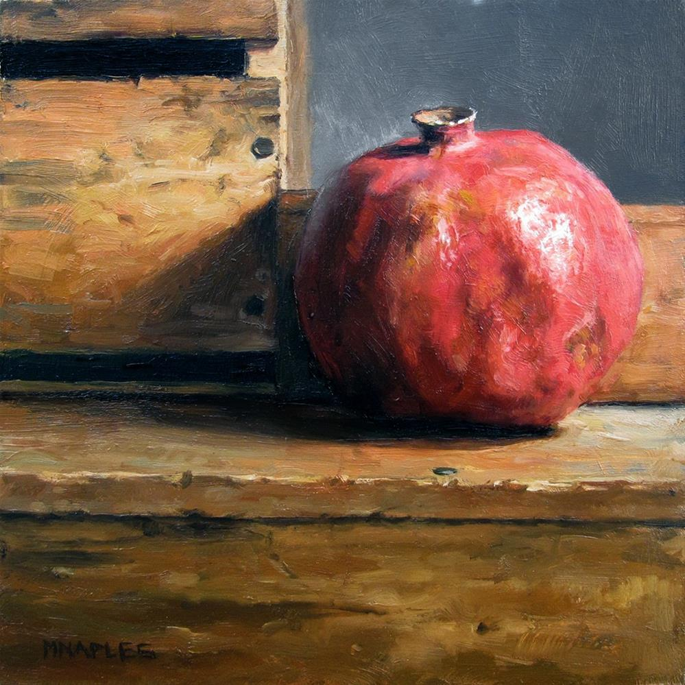 """Pomegranate with Antique Wood"" original fine art by Michael Naples"