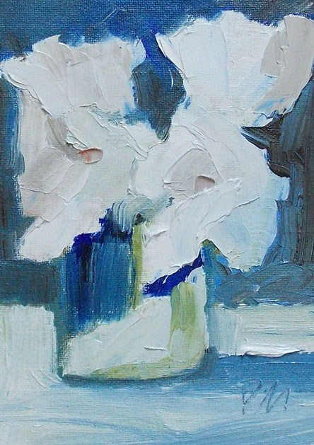 """White on Blue"" original fine art by Pamela Munger"