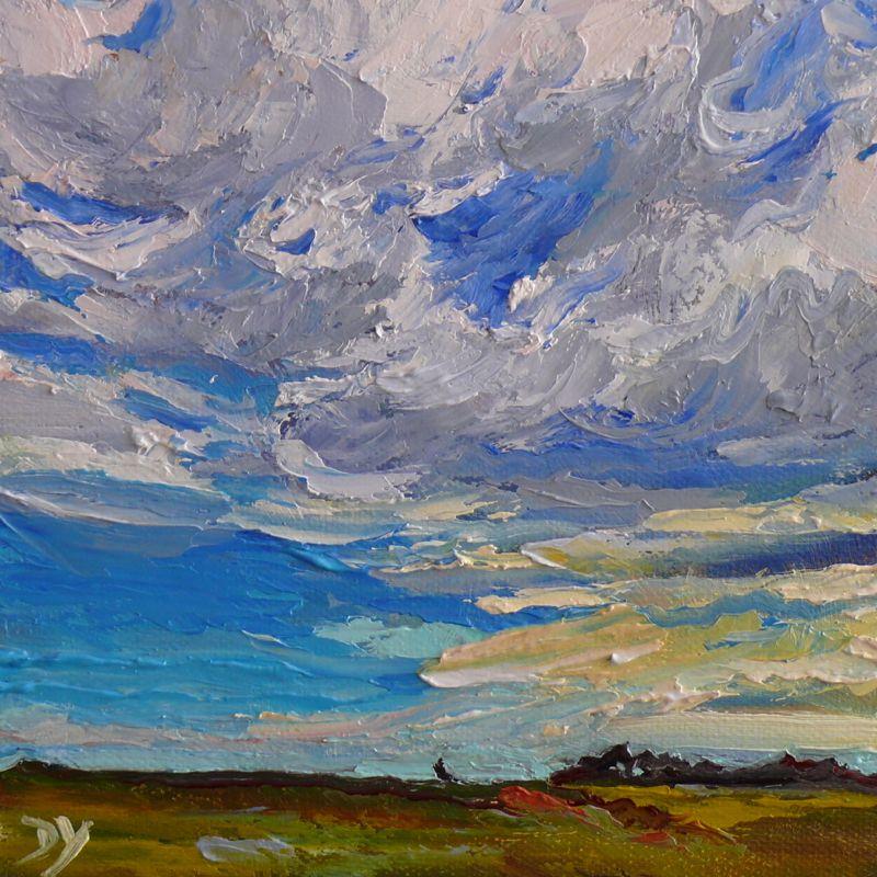 """Dallas Road Scene,knife painting, oil on board, 6x6"" original fine art by Darlene Young"