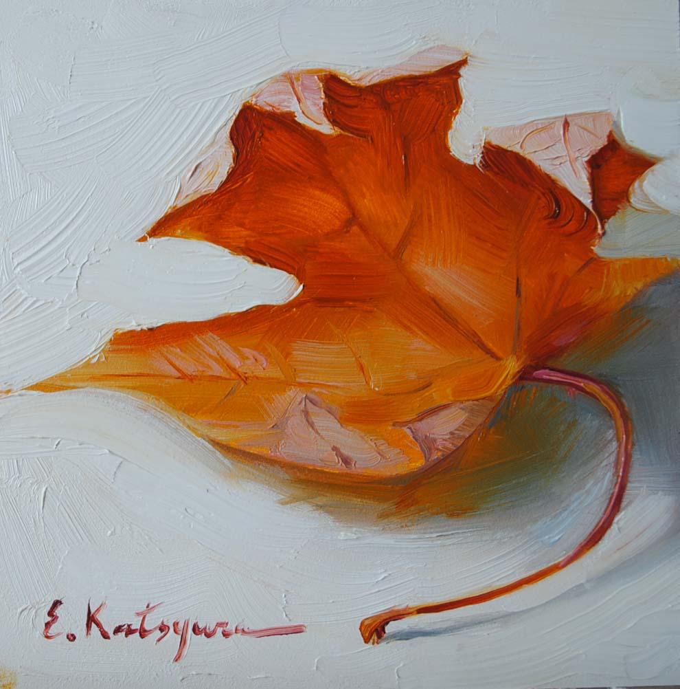 """December Leaf II"" original fine art by Elena Katsyura"