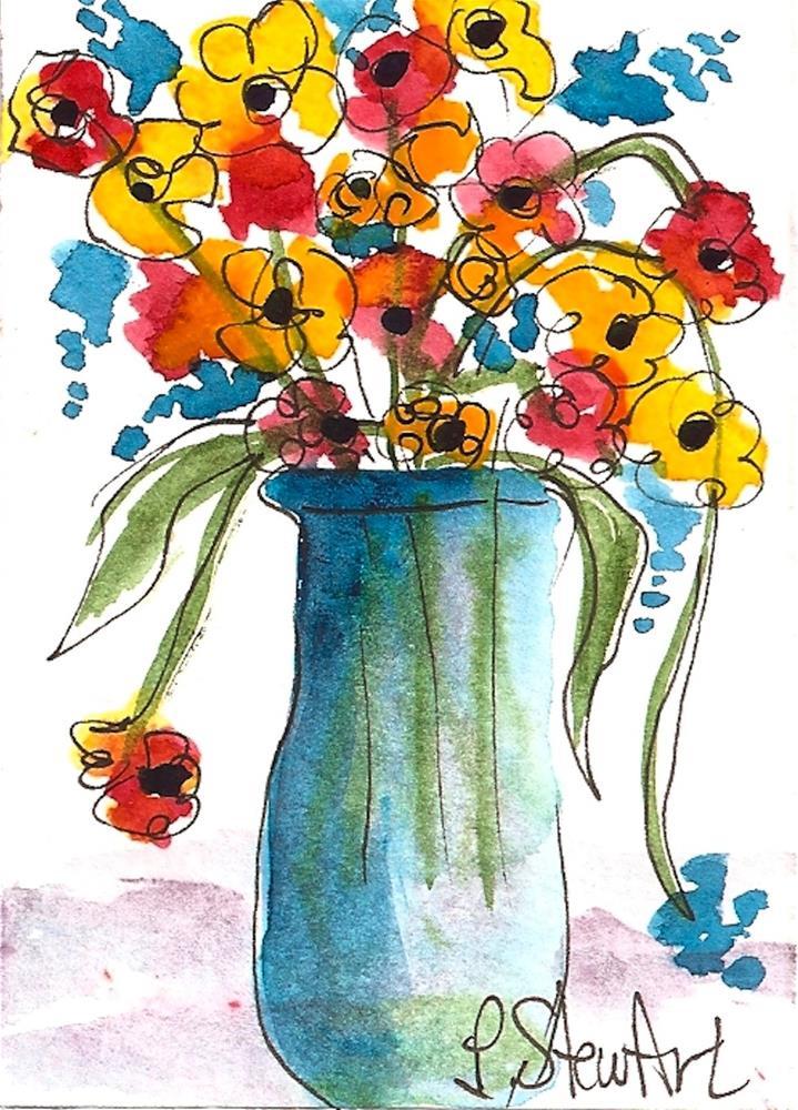 """""""ACEO, Folk Art Flowers in a Blue GlassVase Loose Watercolor Original Art OOAK"""" original fine art by Penny Lee StewArt"""