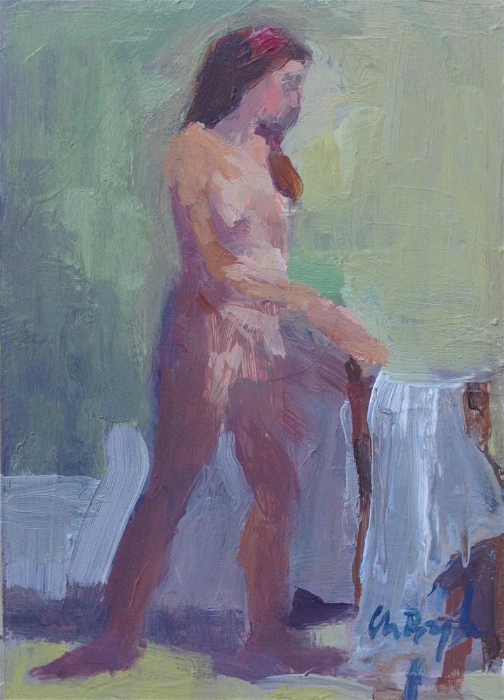 """Nude sketch (catching a bathrobe)"" original fine art by Christine Bayle"