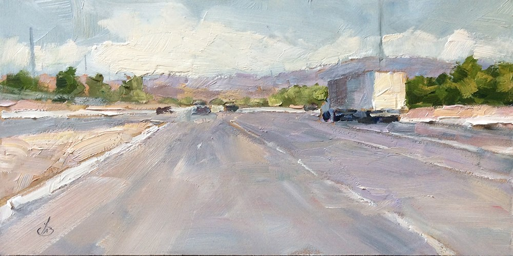 """""""THE LURE OF THE OPEN ROAD"""" original fine art by Tom Brown"""