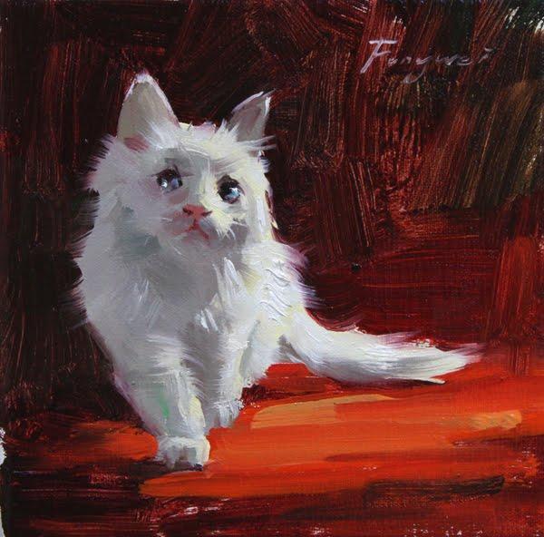 """""""kitten"""" original fine art by Fongwei Liu"""