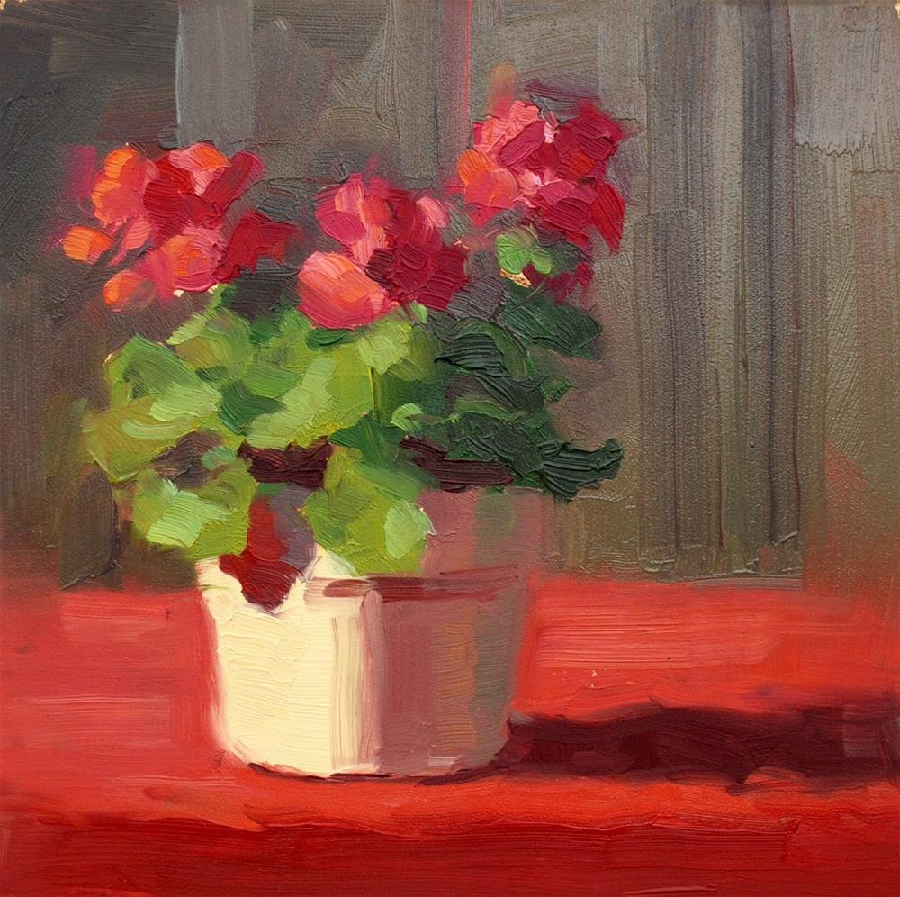 """No. 720 Carol's Geraniums"" original fine art by Susan McManamen"