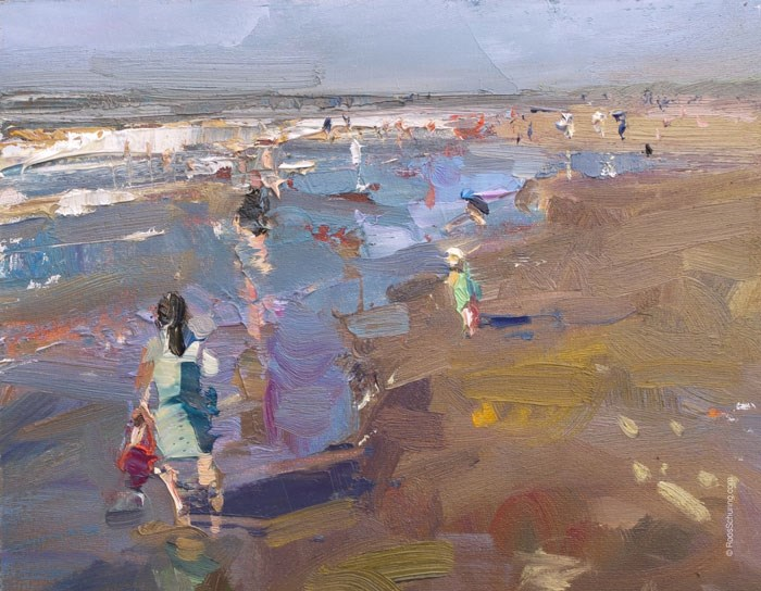 """""""Beach Painting October"""" original fine art by Roos Schuring"""