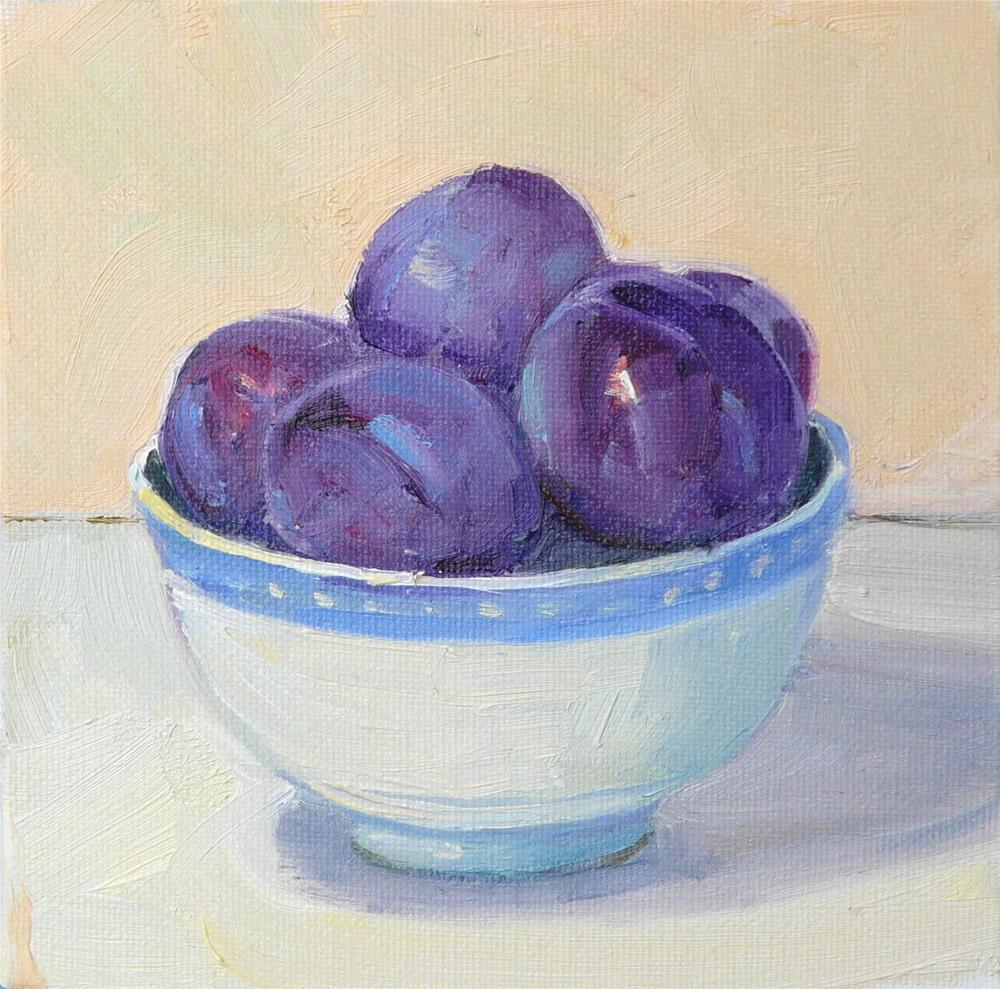 """Rice Bowl with Plums,still life,oil on canvas,price$150"" original fine art by Joy Olney"