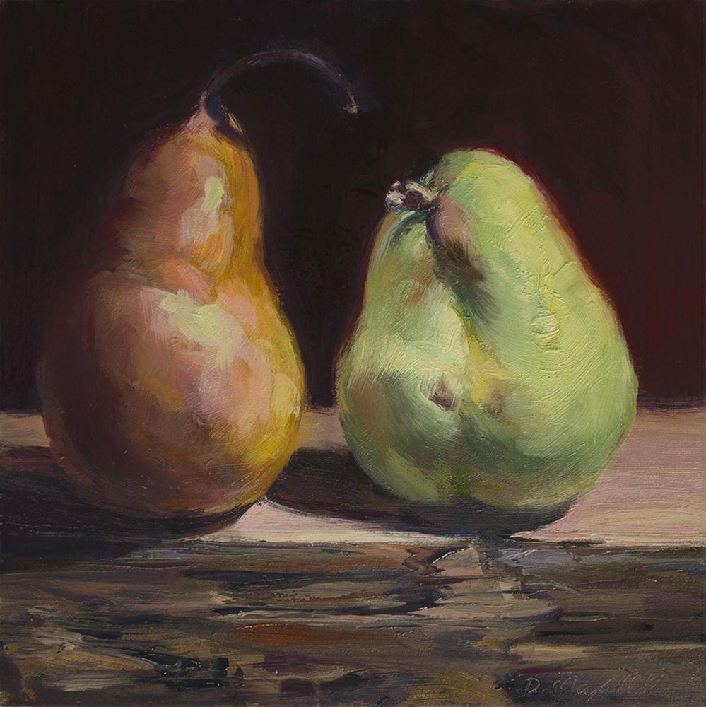 """""""Bartlett and Bosc Pear of Cousins"""" original fine art by Denise Maxwell"""