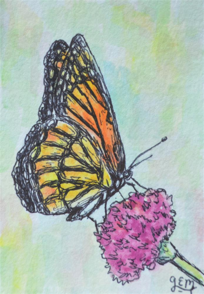 """Butterfly Watercolor Aceo"" original fine art by Gloria Ester"