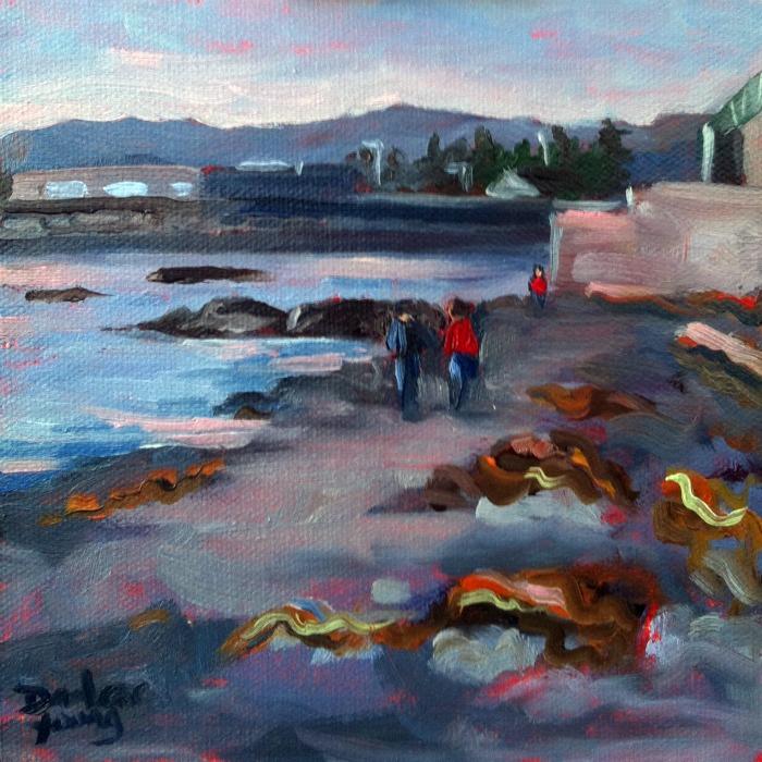 """Ogden Point ,December, 6x6, oil on panel"" original fine art by Darlene Young"