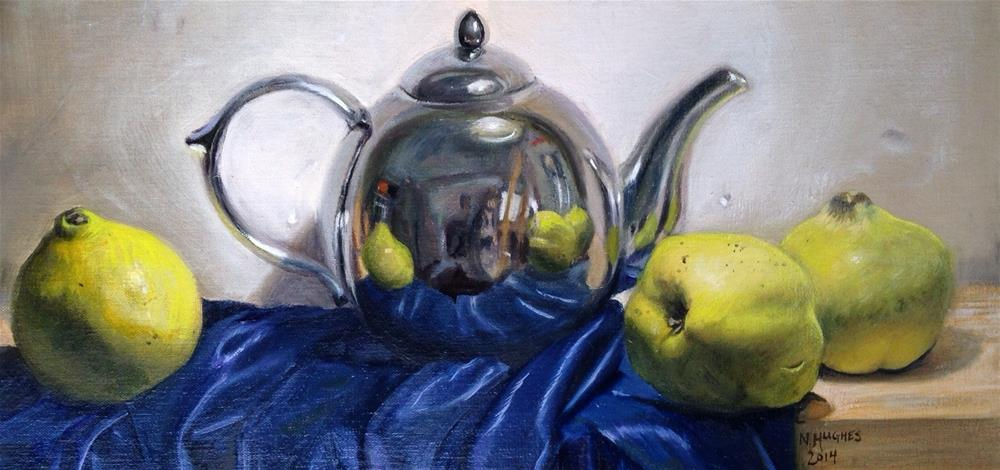 """""""Self-Portrait in a Kettle (with Quinces)"""" original fine art by Naomi Hughes"""