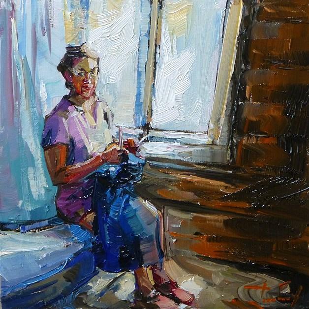 """knitting"" original fine art by Jurij Frey"