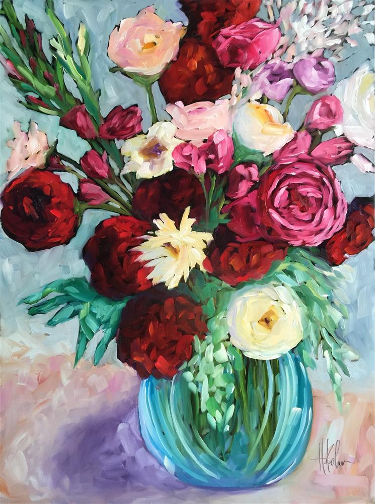 """Dahlia Bouquet"" original fine art by Hallie Kohn"