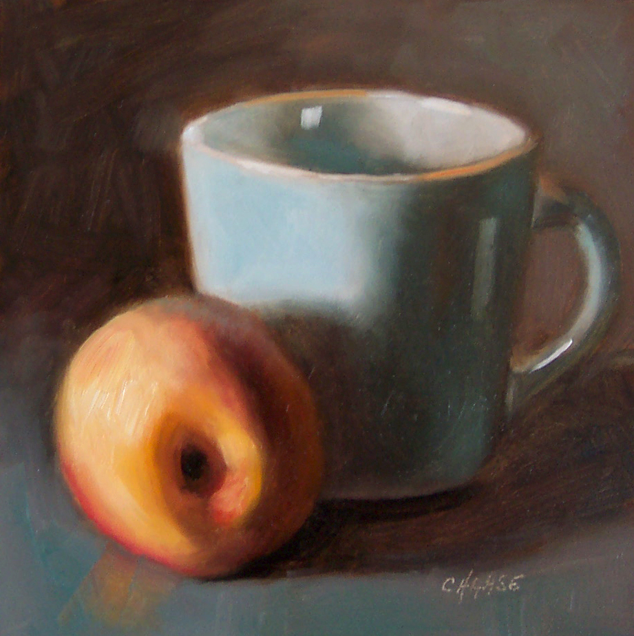 """""""Peach and Blue Cup"""" original fine art by Cindy Haase"""