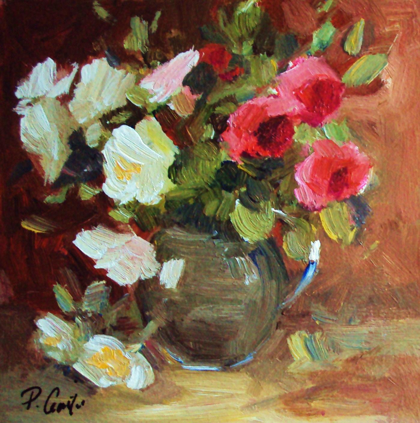 """wild little roses"" original fine art by Parastoo Ganjei"