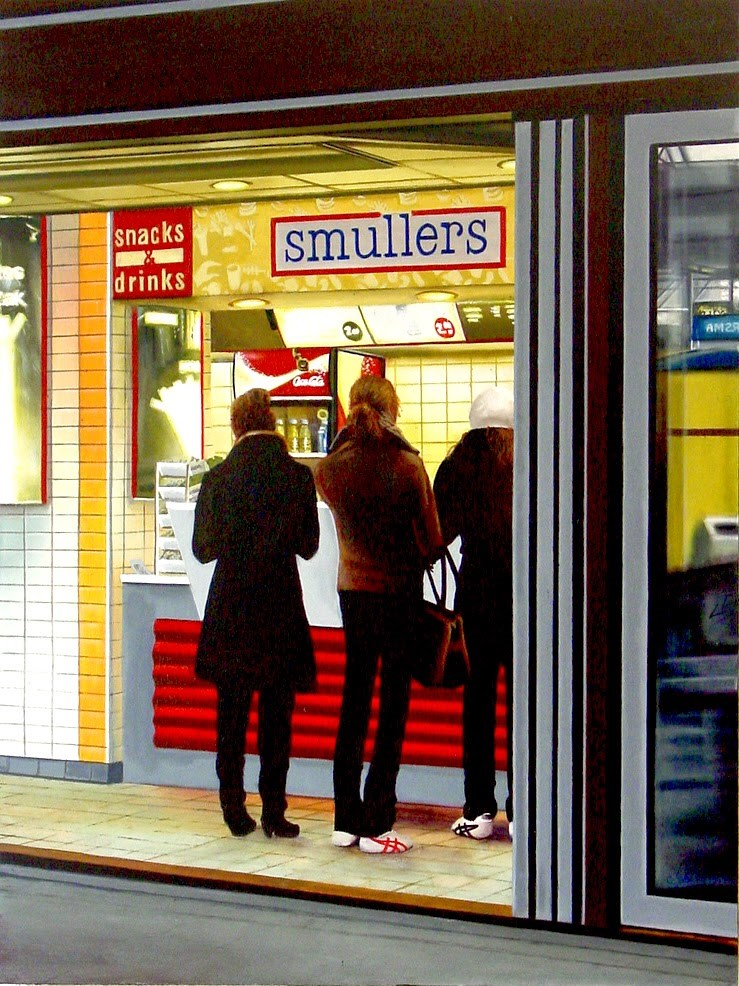 """Smullers- Painting Of People Waiting In Line At Snack Counter"" original fine art by Gerard Boersma"