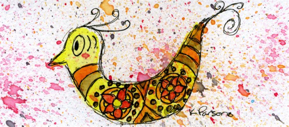 """Curly Whimsy Bird"" original fine art by Kali Parsons"