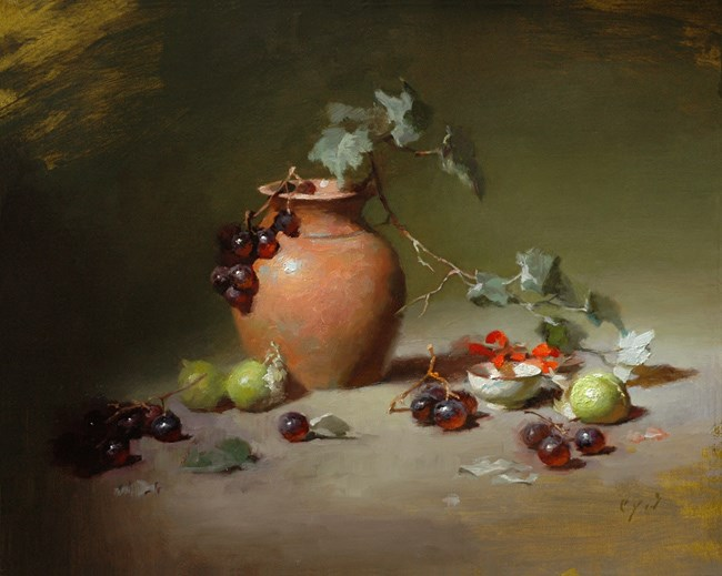 """Tomatillos and Terracotta"" original fine art by Charles Young Walls"
