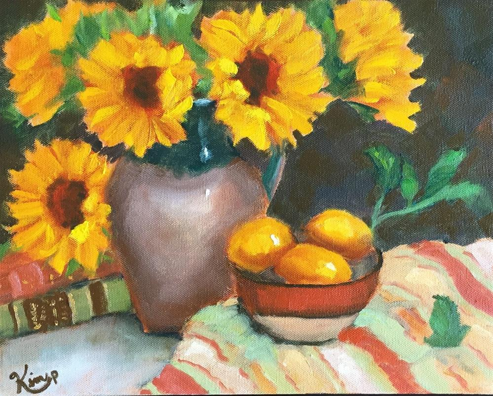 """Sunflowers in Tuscan Pitcher with Lemons and Books"" original fine art by Kim Peterson"