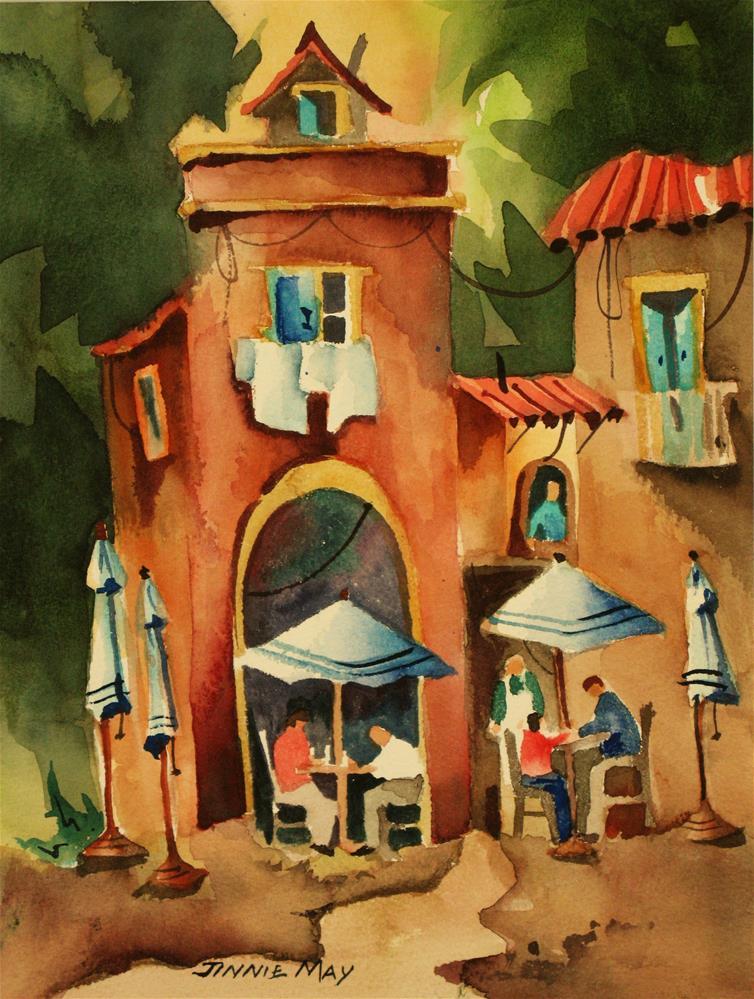 """Lunch in Marina Grande, Sorrento"" original fine art by Jinnie May"