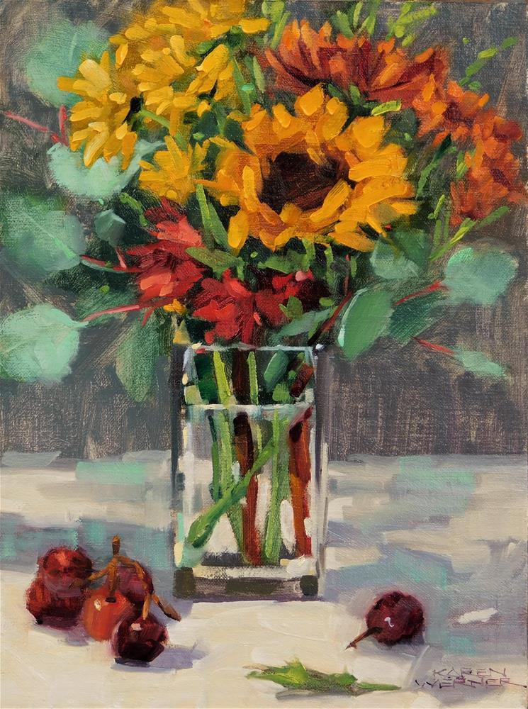 """Flowers & Grapes"" original fine art by Karen Werner"